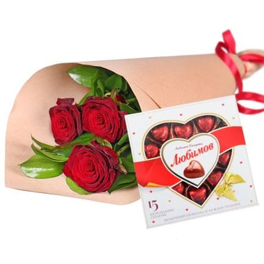 3 roses + chocolates Kiev