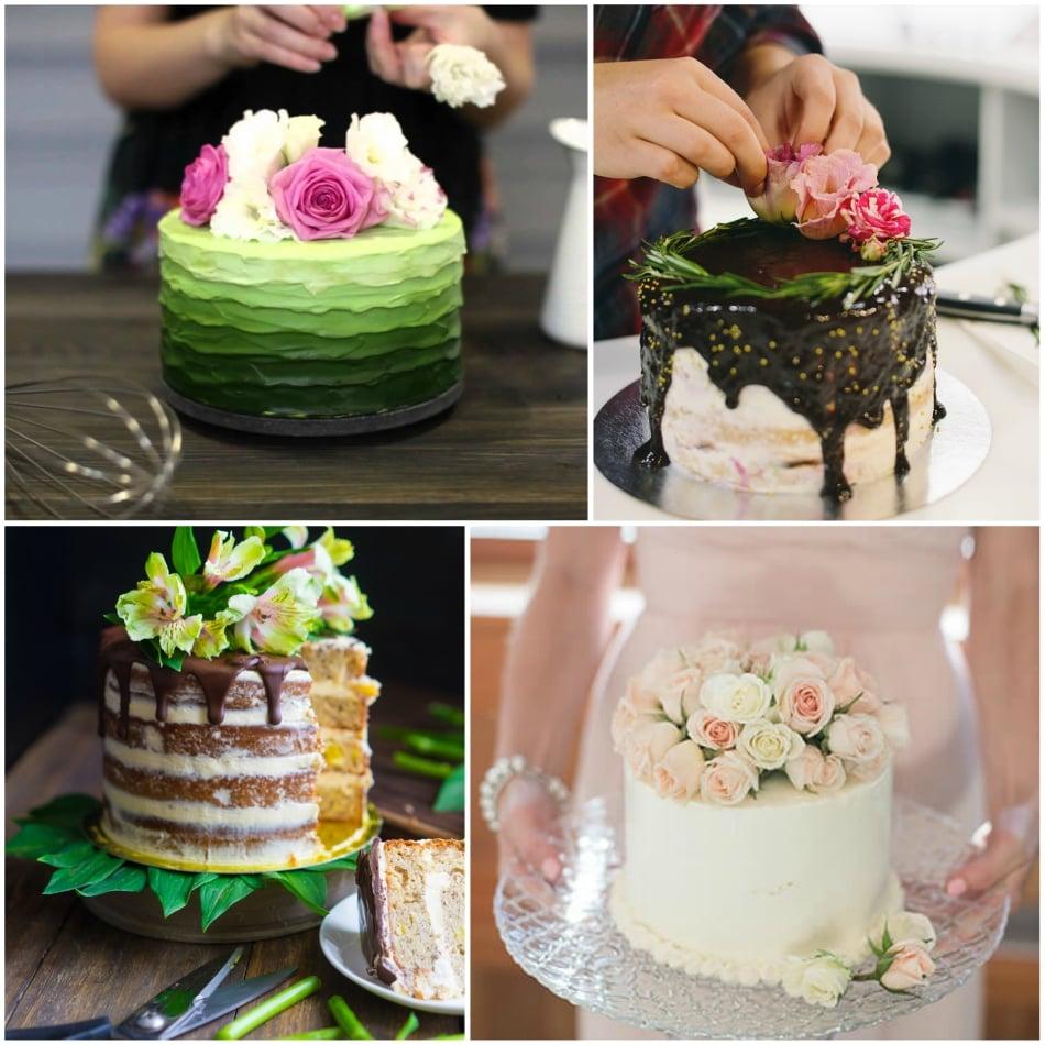 Украшение живыми цветами торта