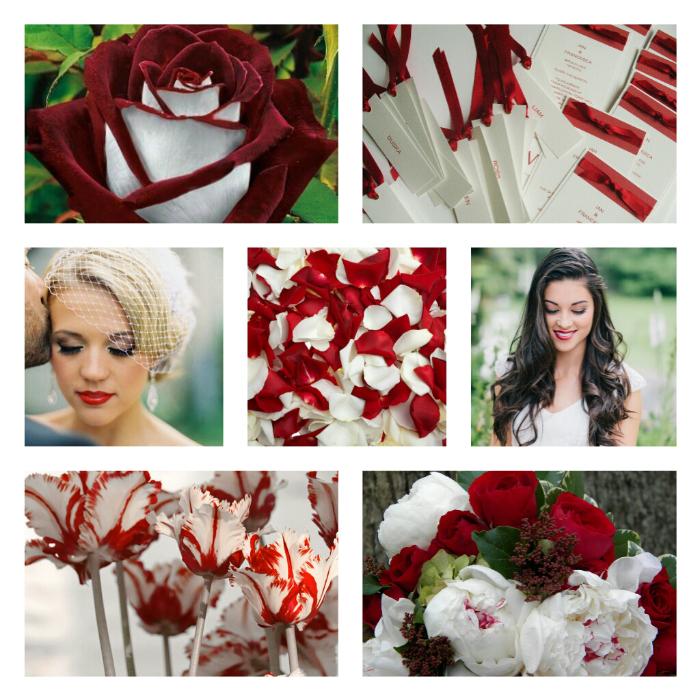 Букет невесты в красно-белых тонах