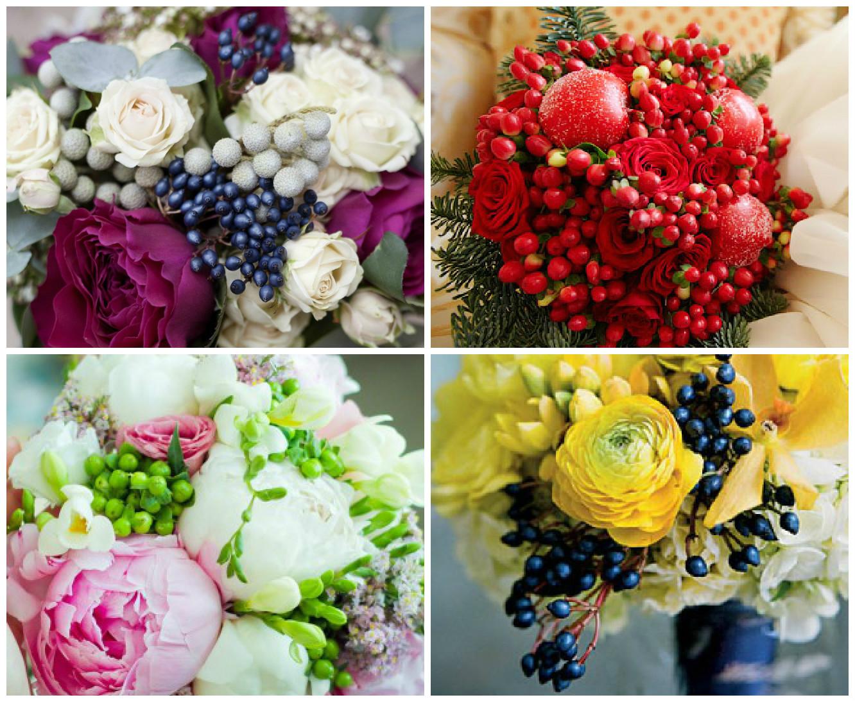 Букет нижнем букет из летних цветов и ягод