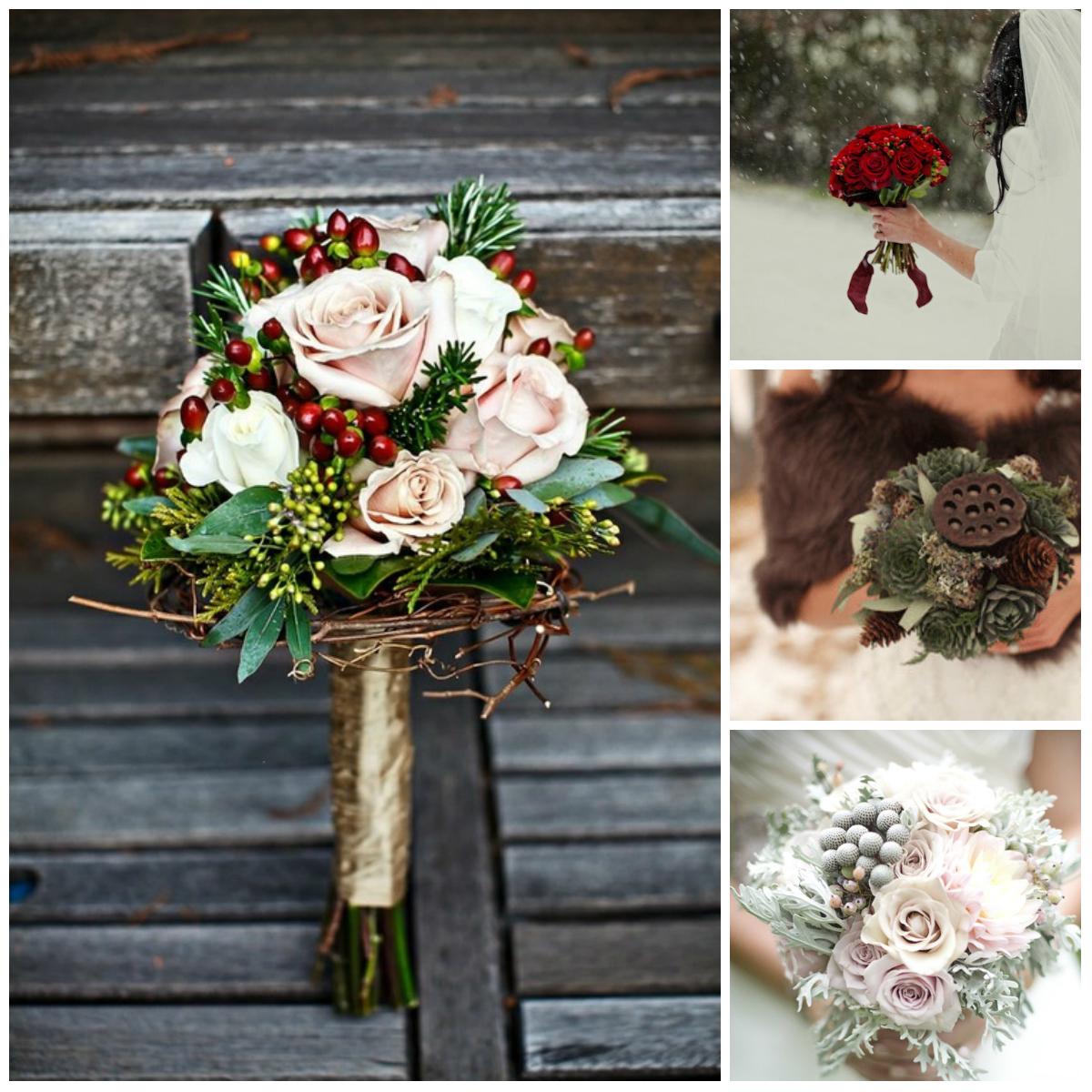 Зимний букет невесты фото из живых цветов